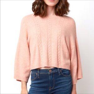 Jack by BB Dakota 3/4 Sleeve Cropped Peach Sweater